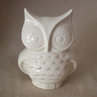 Ceramic Owl Planter Vintage Design White