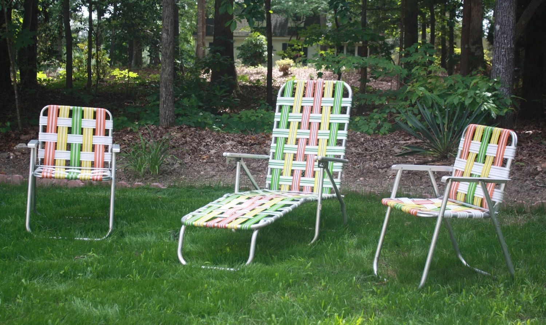 Retro aluminum woven folding patio outdoor furniture bright