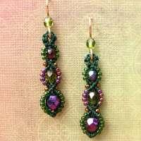 Macrame Earrings Beaded Earrings Beadwork Purple and Green