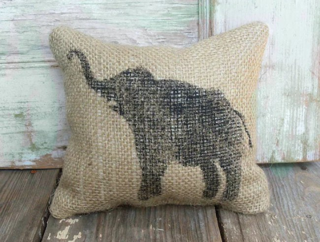 Miss Baba the Circus Elephant-  Burlap Feed Sack Doorstop