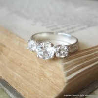 Three Stone White Topaz Engagement Ring Promise Ring Sterling
