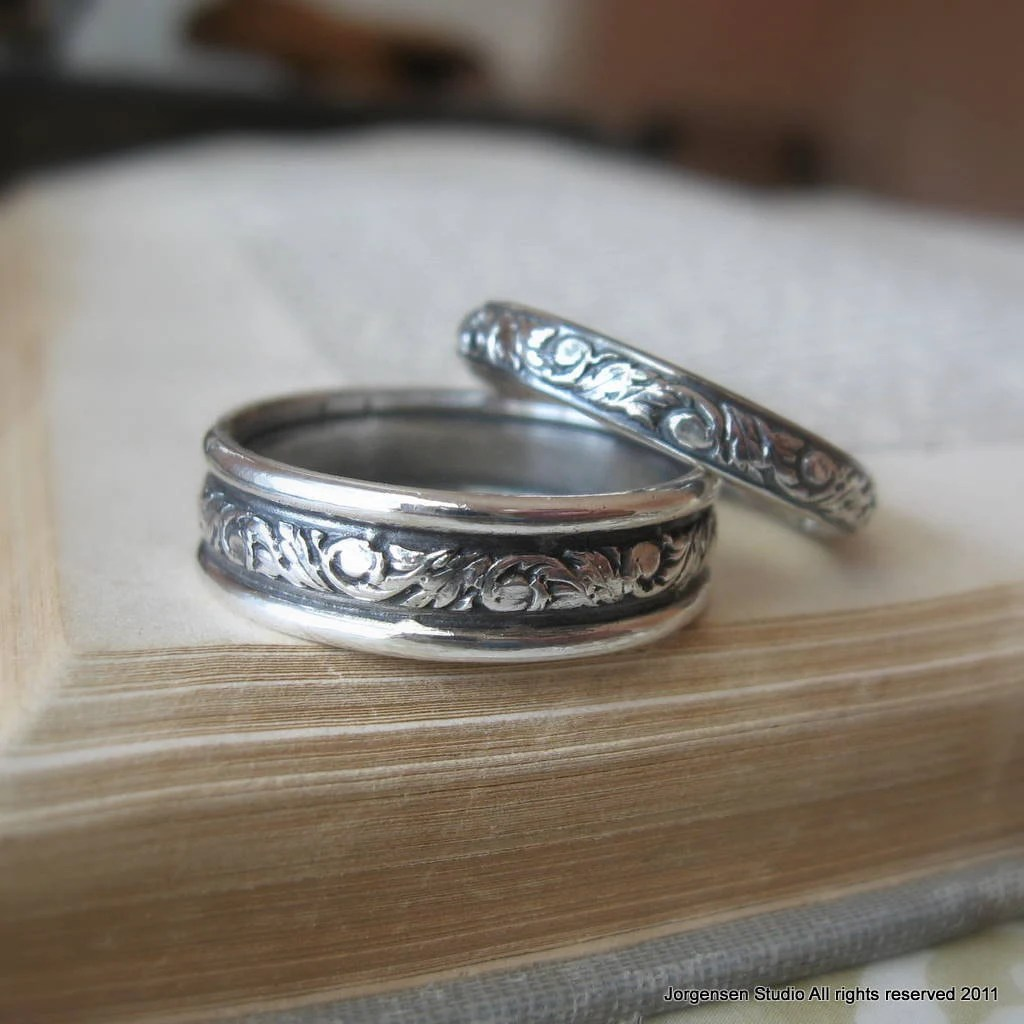 scroll wedding ring set sterling silver silver wedding rings Ring Set Sterling silver Wedding Bands zoom