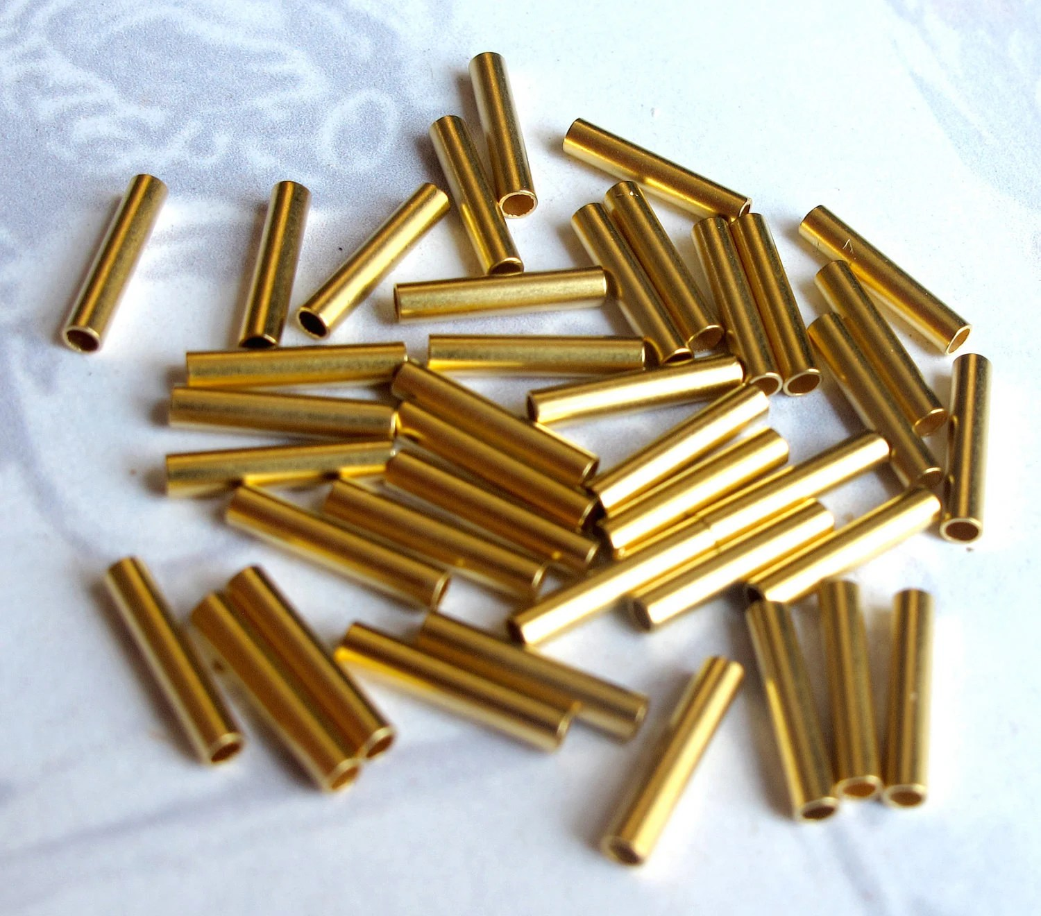 Gold Tube Vintage Matte Gold Plated Tube Beads 40x V224 From
