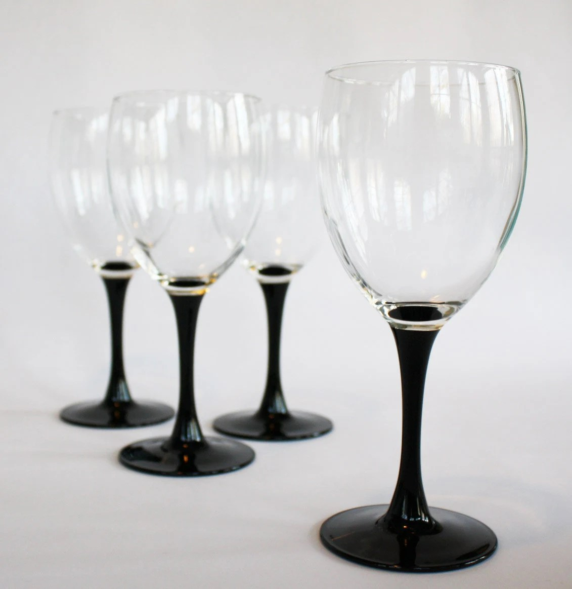 Wine Glasses With Black Stems Vintage Wine Glasses Set Of Four With Black Stem