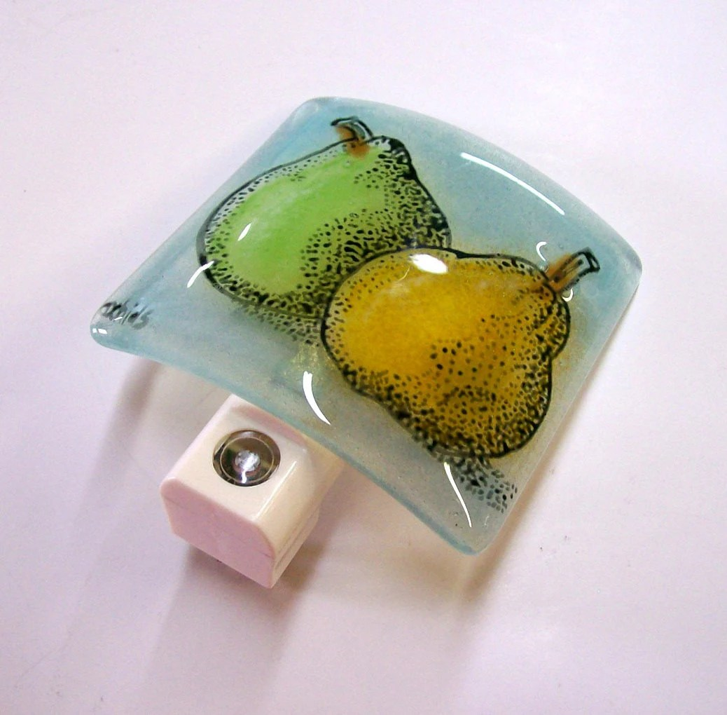 Glass Night Lights Fused Glass Night Light Pears By Cdchilds On Etsy