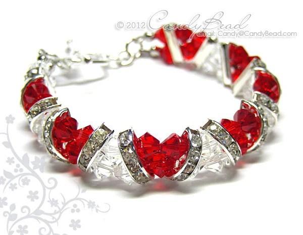 Swarovski Bracelet Sweet Red And White Crystal Cuff Bracelet