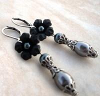 Black Pearl Earrings Black Flower Earrings Black Dangle