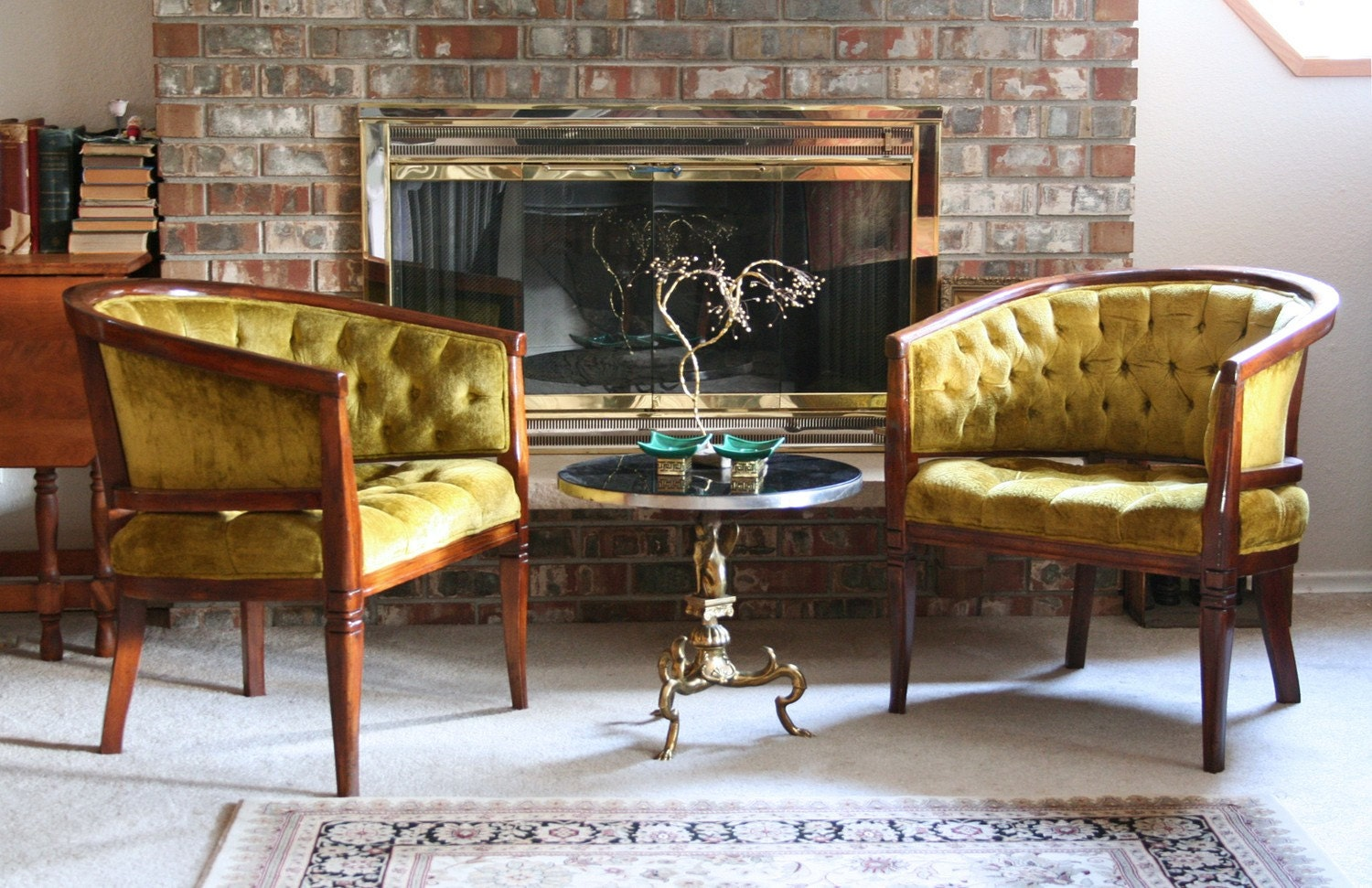vintage diamond tufted olive green tub chairs zoom