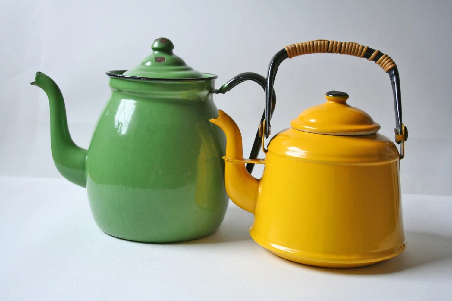 Looking For Teapots Two Vintage Enamelware Tea Kettle In Yellow And Light Green