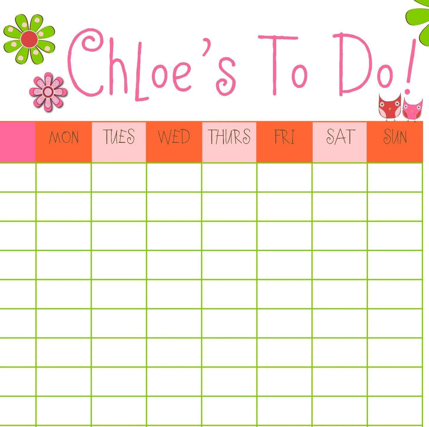 chore calendar for family