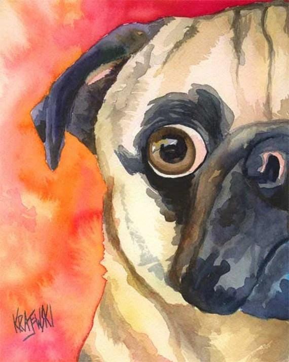 Cute Yorkie Wallpaper Pug Dog Art Print Of Original Watercolor Painting 8x10