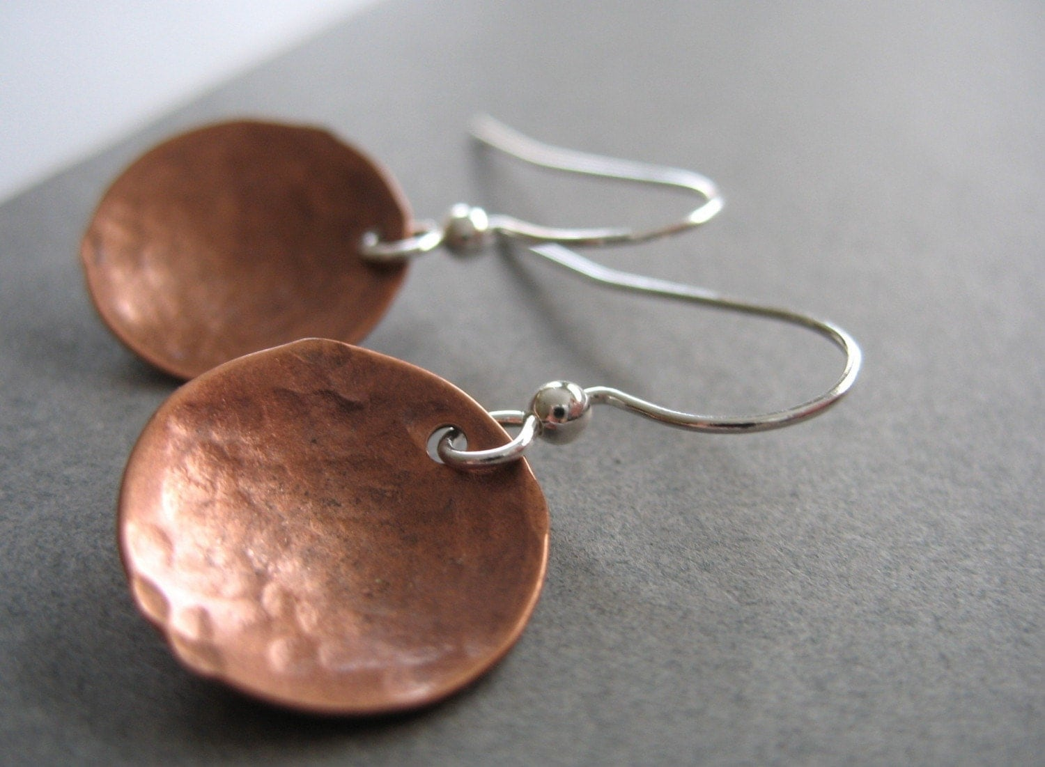 Copper Earrings Copper Dome Hammered Earrings Handmade