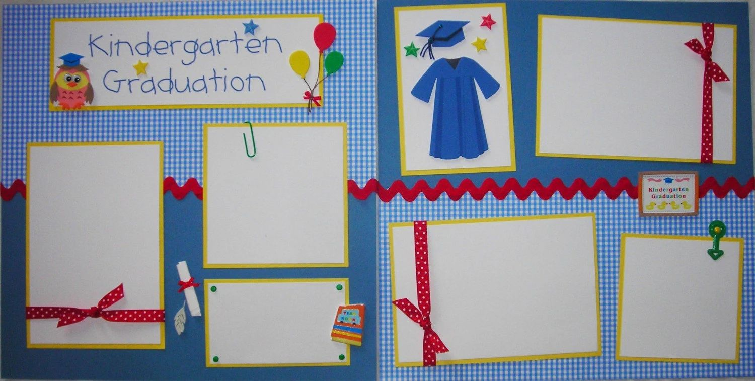 kindergarten graduation 12x12 premade scrapbook pages boy girl school zoom