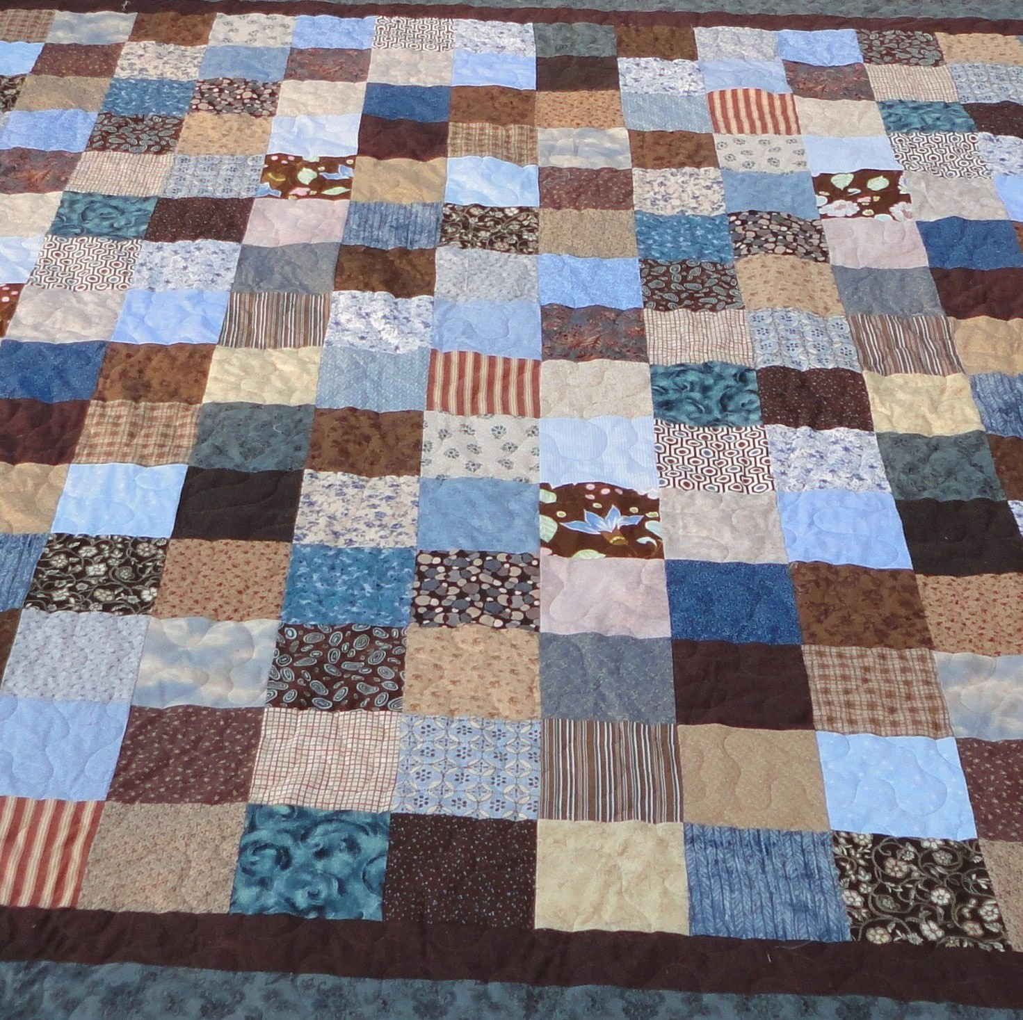 King Quilt Size King Size Blue And Brown Quilt