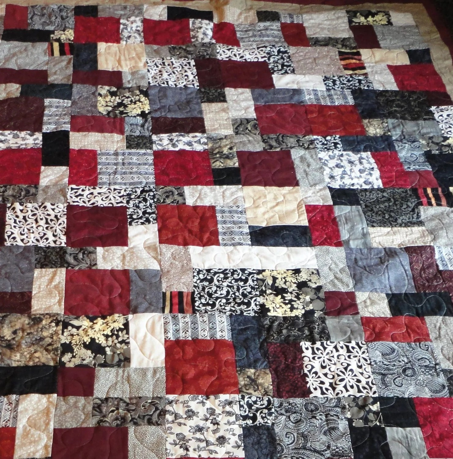 King Quilt Size Black Tan Grey And Red King Size Quilt