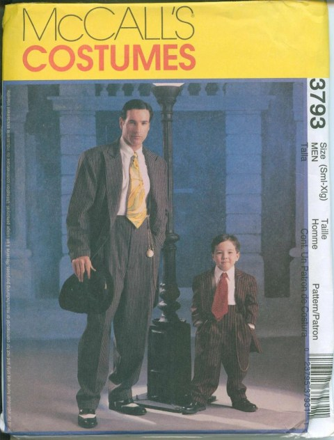 Sewing Pattern Zoot Suit Mens Costume Gangster McCalls 3793 Sizes SM  Sewing Pattern Zoot Suit