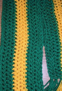 Long Crochet Scarf Green and Gold Scarf by CarriesCraftStore