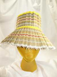 Vintage 70s Fold Up Straw Lamp Shade Garden Hat