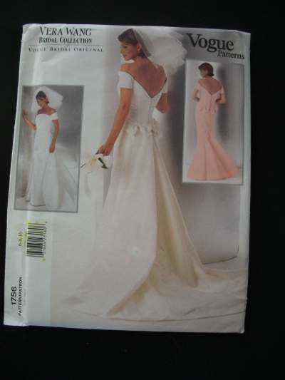 Vera Wang Wedding Gown Pattern Vogue 1756 Size by ...