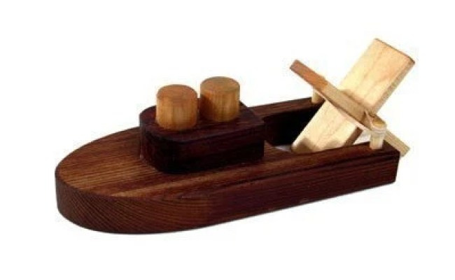 Rubber Band Powered Wooden Toy Tug Boat Kids Wood Bath Toy