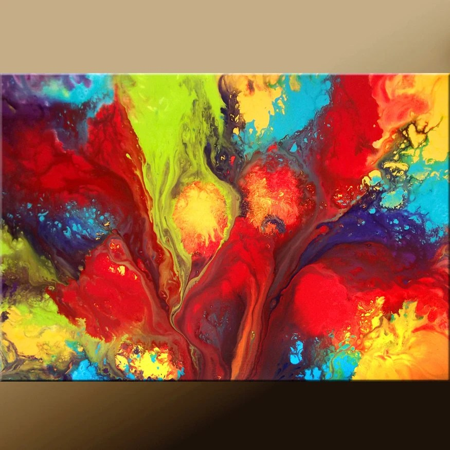 3d Colours Wallpaper Heart 36x24 Rainbow Color Abstract Painting Original Modern