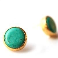 Turquoise Stud Earrings in 18K gold Vermeil over Sterling