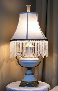 Antique French Limoges Table Lamp with Glass Beaded Shade On