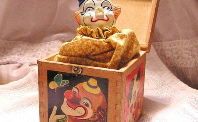 Vintage Clown In Wooden Dovetailed Box Jack In The Box