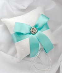 Aqua Wedding Ring Bearer Pillow White or Ivory by ...