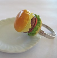 Cheeseburger Food Ring Mini Food Jewelry by Artwonders on Etsy
