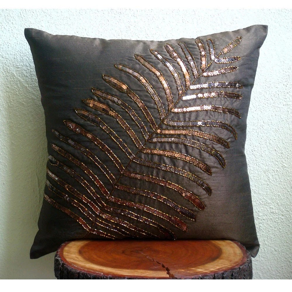 Brown Leaf Throw Pillow Covers 20x20 Inches Silk Pillow