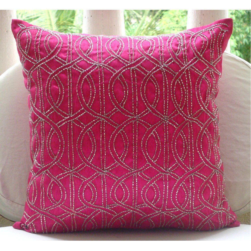 Kissenbezug 40x40 Handmade Fuchsia Pink Decorative Pillows Cover