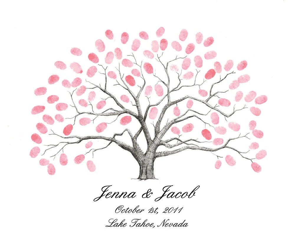 Baum Mit Fingerabdruecken Zur Hochzeit Thumbprint Tree Wedding Guest Book Alternative Live By