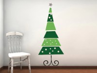 Funky Retro Christmas Tree Vinyl Wall Decal
