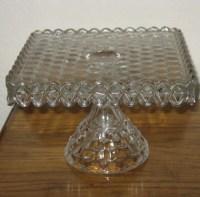 Fostoria American Glass Square Cake Plate w/ Rum Well