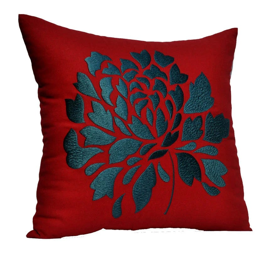 Red Pillow Cover Decorative Throw Pillow Cover Red Linen