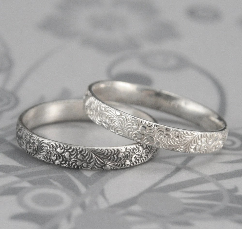 simple promise ring simple wedding bands Birds of a Feather Silver Wedding Band Elegant Swirl Feather Design in Sterling Silver Embossed Intricate Detail