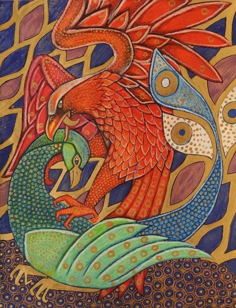 Colorful Animal Print Wallpaper Art Nouveau Bird Eagle Peacock Animal Eastern Art Print By