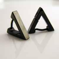 Men's Earrings Black Hoop Triangle Earrings for Men