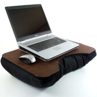 Large Brown Faux Leather Laptop Lap Desk with black pillow