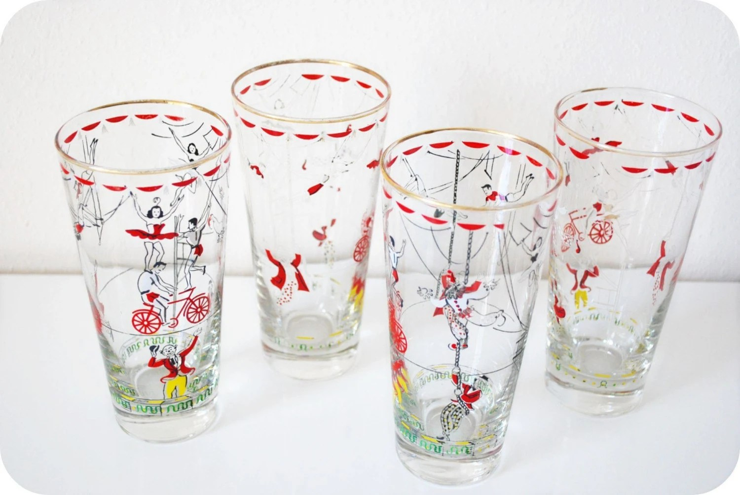 Farmhouse Drinking Glasses Vintage Circus Drinking Glasses By Levintagemaison