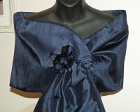 Silk Dupioni Wrap/Shawl/Shrug in Navy..Hands Free..Clutch to