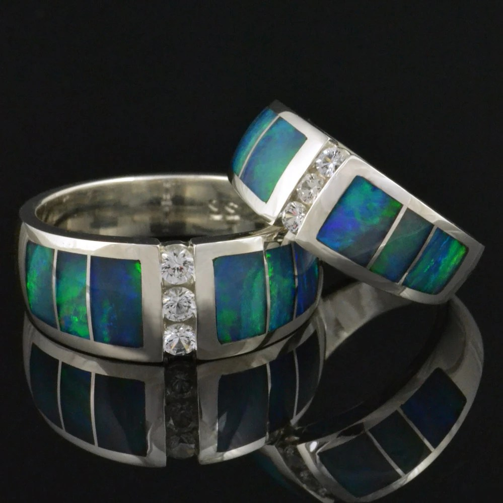 opal inlay ring opal wedding ring sets Australian Opal Wedding Ring Set with White Sapphires Opal Wedding Rings
