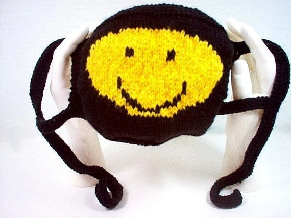 Toddler Child Hat Size Handmade Hand Knit Surgical Style Mask Smiley Face By
