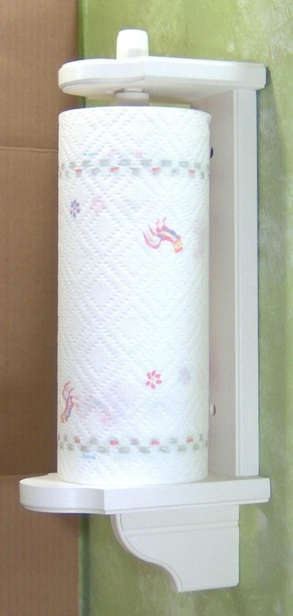White Vertical Mount Wood Paper Towel Holder