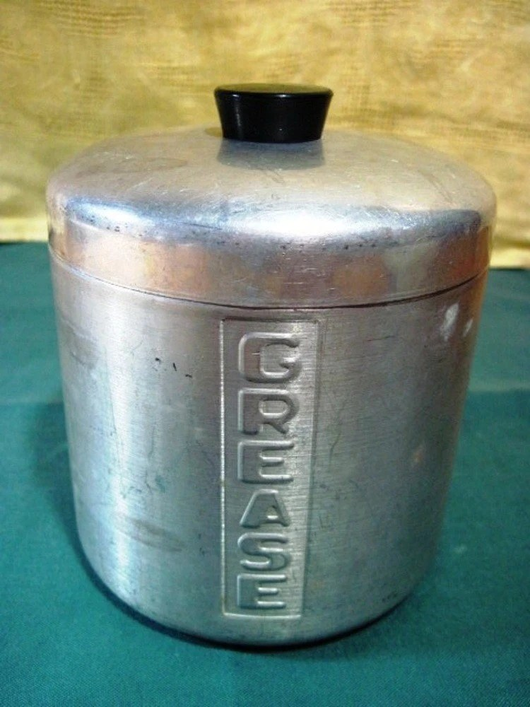 Vintage Aluminum Grease Cannister Container Jar