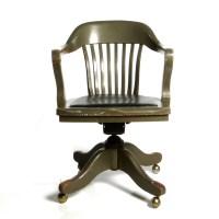 Antique Deco Wooden Chair Swivel Office Desk Chair