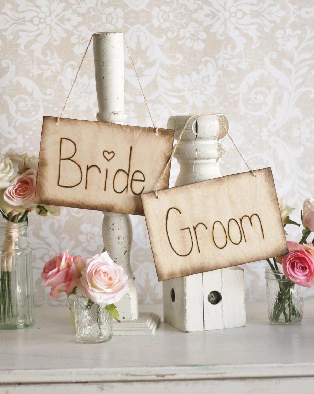 Bride And Groom Chair Signs Rustic Barn Outdoor Garden Wedding