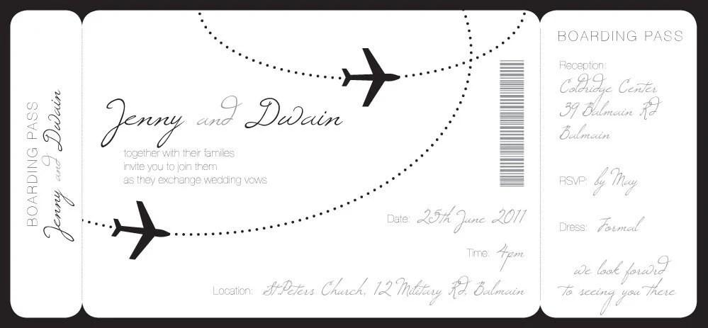 wedding invitation boarding pass tropical by printATsydesign I - order templates