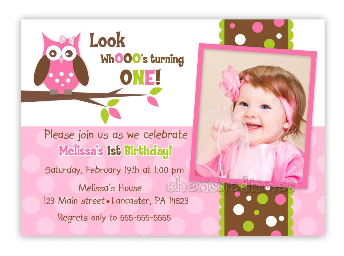 Custom Owl Birthday Or Baby Shower Invitation Girl You Print